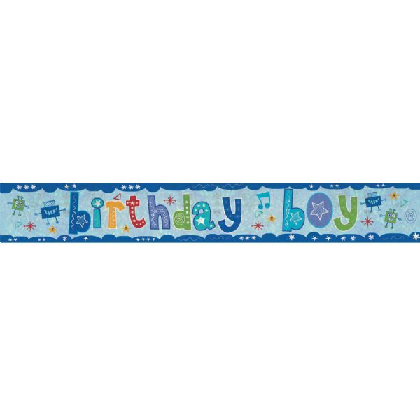 Holographic Birthday Boy Foil Banner